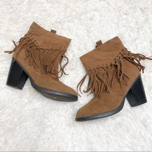 Brown Cato fringe booties heels shoes size 7